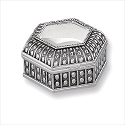 Morgan - Engravable Antiqued Hexagon Silver-Plated Jewelry Box/