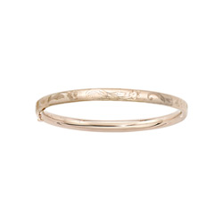 Fine Baby Bracelets - 14K Yellow Gold Baby, Toddler Floral Bangle Bracelet - Size 4.5