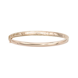Fine Toddler Bracelets - 14K Yellow Gold Baby, Toddler Floral Bangle Bracelet - Size 5.25