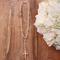 My First Rosary™ - Sterling Silver Rosary Necklace - Add an optional engravable charm and birthstone to personalize - BEST SELLER/