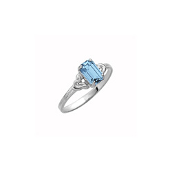 Kid's Birthstone Rings for Girls - Sterling Silver Rhodium Girls Synthetic Aquamarine March Birthstone Ring - Size 4 1/2 - Perfect for Grade School Girls, Tweens, or Teens/