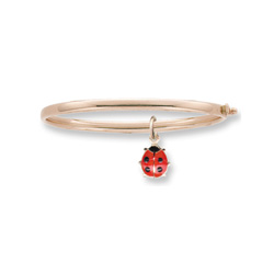 Little Girls Adorable Red Ladybug Bangle Bracelet - 14K Yellow Gold Baby, Toddler Bangle Bracelet - Size 5.25