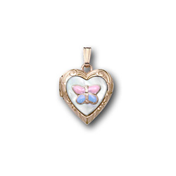 Pink and Blue Gold Butterfly Mother of Pearl Locket Necklace for Girls - 14K Yellow Gold - Engravable on back - 15