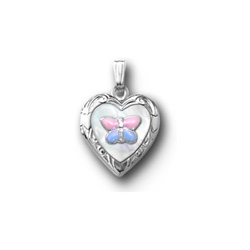 Pink and Blue Butterfly Mother of Pearl Locket Necklace for Girls - Sterling Silver Rhodium - Engravable on back - 15