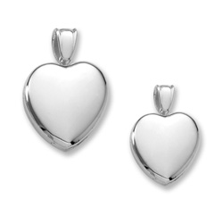 Mother Daughter Heart Photo Lockets - Sterling Silver Rhodium Handmade Premium Heirloom Engravable Heart Lockets to Love - Chains Included - Save $25 with this set/