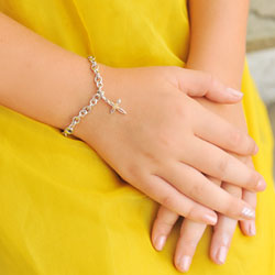 Girl's Heart Cross First Communion Bracelet - Includes one Genuine Diamond and 14K Yellow Gold Accented Cross Charm - Add an optional engravable charm to personalize/