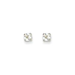 April Birthstone 14K White Gold Earrings for Tweens, Teens, and Women - 4mm Genuine White Topaz Gemstone - Push back posts/
