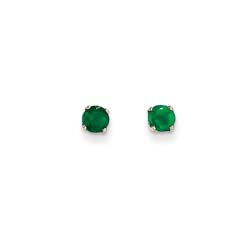 May Birthstone 14K White Gold Earrings for Tweens, Teens, and Women - 4mm Genuine Emerald Gemstone - Push back posts/