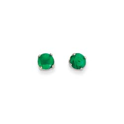 May Birthstone 14K White Gold Earrings for Tweens, Teens, and Women - 5mm Genuine Emerald Gemstone - Push back posts/