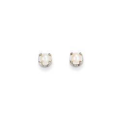 June Birthstone 14K White Gold Earrings for Tweens, Teens, and Women - 4mm Freshwater Cultured Pearl Gemstone - Push back posts/