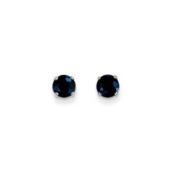September Birthstone 14K White Gold Earrings for Tweens, Teens, and Women - 5mm Genuine Blue Sapphire Gemstone - Push back posts/