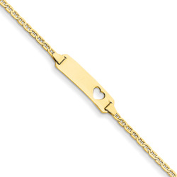 Adorable Heart - Solid 14K Yellow Gold Personalized Teen, Adult ID Bracelet - Anchor Link - Size 7