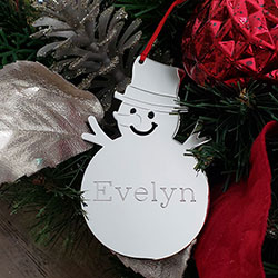 Kid's Favorite - Silver Snowman Personalized Ornament - Engravable on front and back - BEST SELLER/