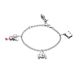 Adorable Fairytale Charm Bracelet for Girls - Sterling Silver Rhodium - 6
