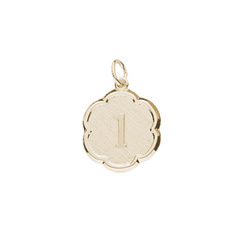 Age 1 Toddler Years - First Birthday Keepsake Charm - 10K Yellow Gold Small Round Rembrandt Charm – Engravable on back - Add to a bracelet or necklace - BEST SELLER/