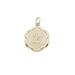 Age 2 Toddler Years - Second Birthday Keepsake Charm -  14K Yellow Gold Small Round Rembrandt Charm – Engravable on back - Add to a bracelet or necklace /
