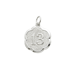 Age 13 Teen Years - Thirteenth Birthday Keepsake Charm - 14K White Gold Small Round Rembrandt Charm – Engravable on back - Add to a bracelet or necklace /