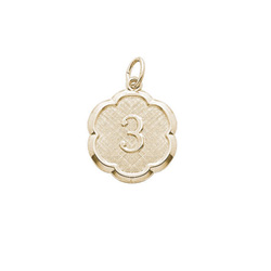 Age 3 Toddler Years - Third Birthday Keepsake Charm - 10K Yellow Gold Small Round Rembrandt Charm – Engravable on back - Add to a bracelet or necklace /