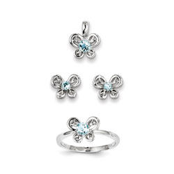 Girls Birthstone Butterfly Jewelry - Genuine Aquamarine Birthstones - Size 5 Ring, Earrings, and Necklace Set - Sterling Silver Rhodium - 16