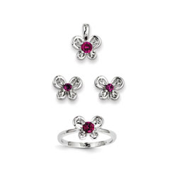 Girls Birthstone Butterfly Jewelry - Created Ruby Birthstones - Size 5 Ring, Earrings, and Necklace Set - Sterling Silver Rhodium - 16