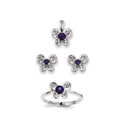 Girls Birthstone Butterfly Jewelry - Genuine Amethyst Birthstones - Size 6 Ring, Earrings, and Necklace Set - Sterling Silver Rhodium - 16