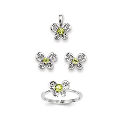 Girls Birthstone Butterfly Jewelry - Genuine Peridot Birthstones - Size 6 Ring, Earrings, and Necklace Set - Sterling Silver Rhodium - 16