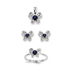 Girls Birthstone Butterfly Jewelry - Created Sapphire Birthstones - Size 6 Ring, Earrings, and Necklace Set - Sterling Silver Rhodium - 16