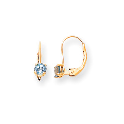 December Birthstone - Genuine Blue Topaz 4mm Gemstone - 14K Yellow Gold Leverback Earrings/