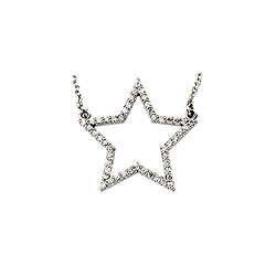 You're My Star! Girl's Diamond Star Necklace - 14K White Gold - 16