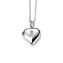 Heart Lock Pendant Necklace for Girls - Sterling Silver Pendant with one Genuine Diamond - Includes 14