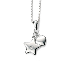 You're Charmed! - Heart and Star Diamond Pendant Necklace for Girls - Sterling Silver Pendant with one Genuine Diamond - Includes 14