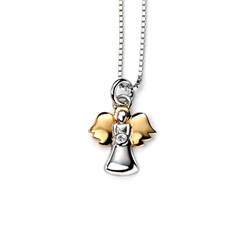 Adorable Small Guardian Angel Diamond Pendant Necklace for Girls - Sterling Silver and Gold-Plated Pendant with one Genuine Diamond - Includes 14