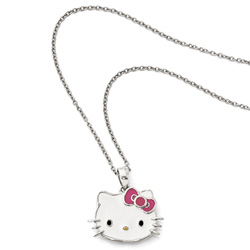 Girls Hello Kitty® Sterling Silver Enameled Pendant Necklace - 16-inch chain included/
