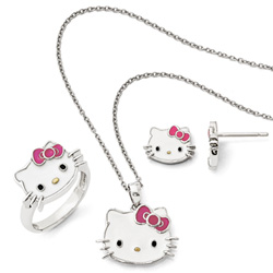 Girls Hello Kitty® Sterling Silver Enameled Pendant Necklace, Earring, and Ring Set - 3 Item Set - Save $15 with this set/