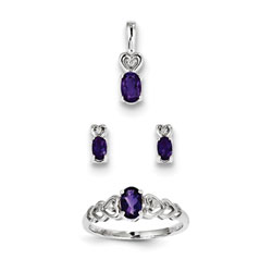 Girls Birthstone Heart Jewelry - Genuine Amethyst Birthstones - Size 5 Ring, Earrings, and Necklace Set - Sterling Silver Rhodium - 16