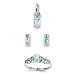 Girls Birthstone Heart Jewelry - Genuine March Birthstones - Size 5 Ring, Earrings, and Necklace Set - Sterling Silver Rhodium - 16