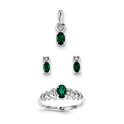 Girls Birthstone Heart Jewelry - Created Emerald Birthstones - Size 5 Ring, Earrings, and Necklace Set - Sterling Silver Rhodium - 16