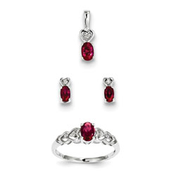 Girls Birthstone Heart Jewelry - Created Ruby Birthstones - Size 5 Ring, Earrings, and Necklace Set - Sterling Silver Rhodium - 16