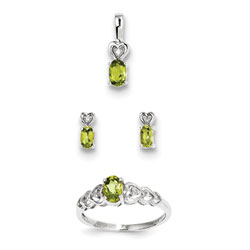 Girls Birthstone Heart Jewelry - Genuine Peridot Birthstones - Size 5 Ring, Earrings, and Necklace Set - Sterling Silver Rhodium - 16
