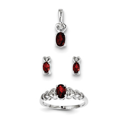 Girls Birthstone Heart Jewelry - Genuine Garnet Birthstones - Size 6 Ring, Earrings, and Necklace Set - Sterling Silver Rhodium - 16