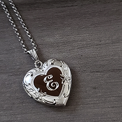 Beautiful Embossed 19mm Heirloom Heart Photo Locket for Girls - Sterling Silver Rhodium - Engravable on front and back - Includes a 14