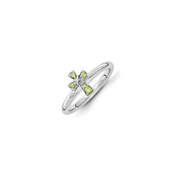 Girls Birthstone Cross Ring - Genuine Peridot Birthstone - Sterling Silver Rhodium - Size 5 - BEST SELLER/