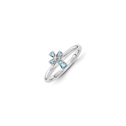 Girls Birthstone Cross Ring - Genuine Blue Topaz Birthstone - Sterling Silver Rhodium - Size 6/