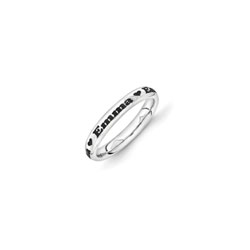 Four Word Personalized Heart Ring for Girls - 3mm Band Width - Sterling Silver Rhodium - Add Your Own Four Names or Words (up to 36 characters) - Size 5 - BEST SELLER/