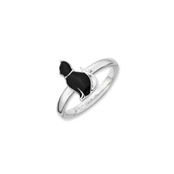 Adorable and Very Stylish Kitten Ring for Girls - Sterling Silver Rhodium - Size 6/