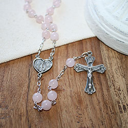 My First Rosary™ - 26-inch Sterling Silver Antique Heart Rosary Necklace - with Genuine Rose Quartz - Add an optional engravable charm and birthstone to personalize/
