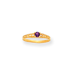 February Birthstone - Genuine Amethyst 3mm Gemstone - 14K Yellow Gold Baby/Toddler Birthstone Ring - Size 3/
