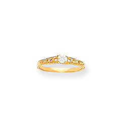 April Birthstone - Genuine White Topaz 3mm Gemstone - 14K Yellow Gold Baby/Toddler Birthstone Ring - Size 3/