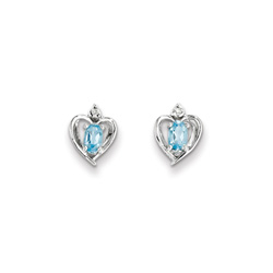 Girls Birthstone Heart Earrings - Genuine Diamond & Blue Topaz Birthstone - Sterling Silver Rhodium - Push-back posts - BEST SELLER/