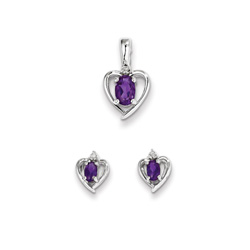 Girls Birthstone Heart Jewelry - Genuine Diamond and Amethyst Birthstone - Earrings and Necklace Set - Sterling Silver Rhodium - Grow-With-Me® 16